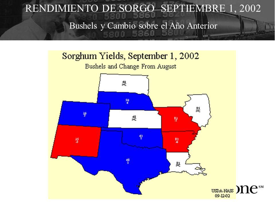RENDIMIENTO DE SORGO SEPTIEMBRE 1, 2002 Bushels y Cambio sobre el Año Anterior