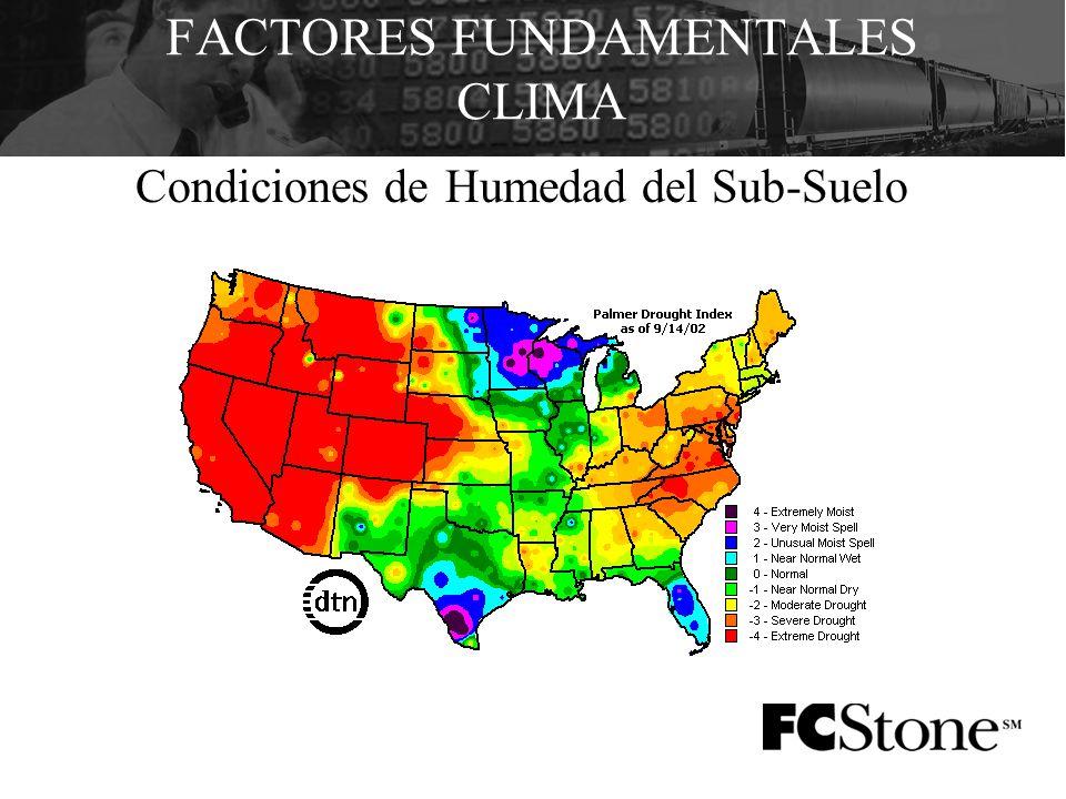 FACTORES FUNDAMENTALES CLIMA Condiciones de Humedad del Sub-Suelo