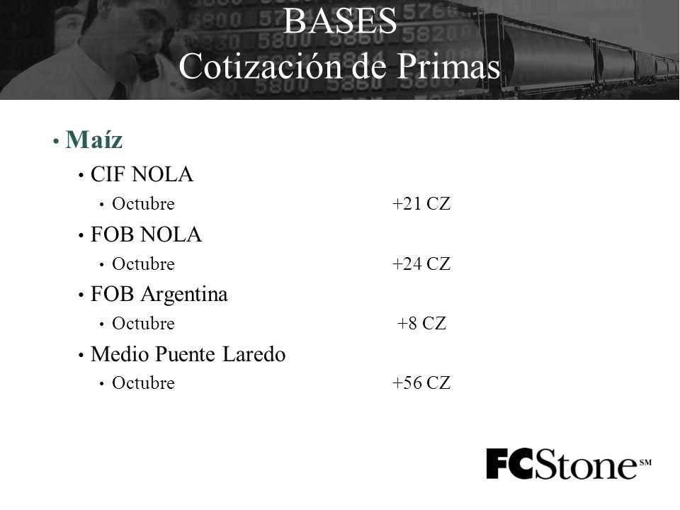 BASES Cotización de Primas Maíz CIF NOLA Octubre+21 CZ FOB NOLA Octubre+24 CZ FOB Argentina Octubre +8 CZ Medio Puente Laredo Octubre+56 CZ