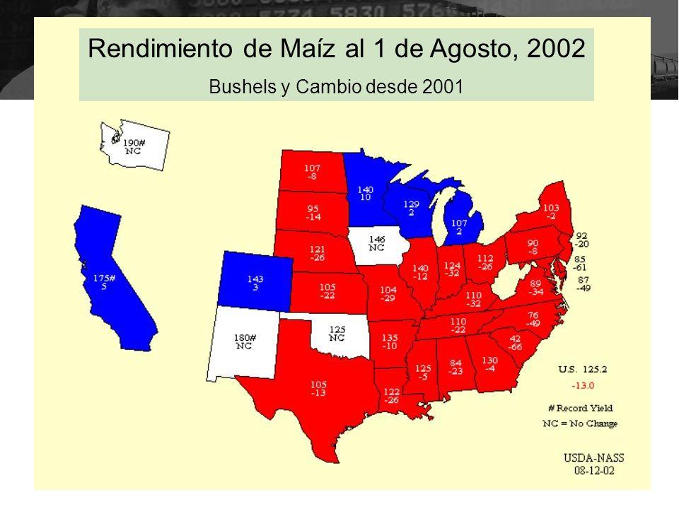 Rendimiento de Maíz al 1 de Agosto, 2002 Bushels y Cambio desde 2001