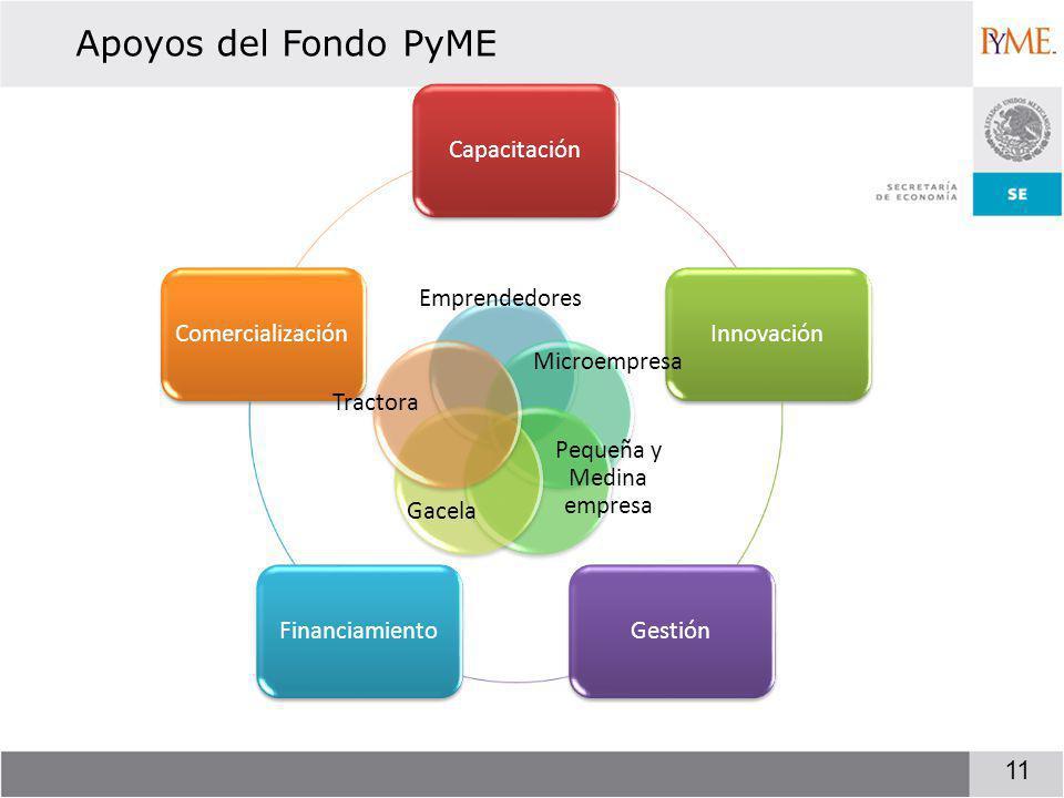 Apoyos del Fondo PyME 11 CapacitaciónInnovaciónGestiónFinanciamientoComercialización Emprendedores Microempresa Pequeña y Medina empresa Gacela Tractora