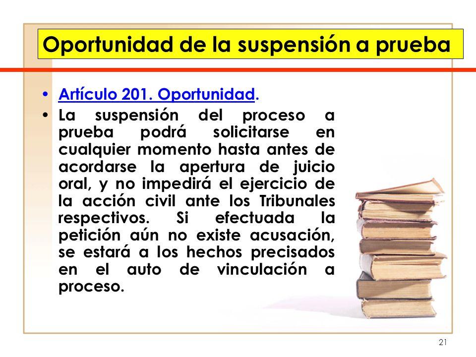 21 Oportunidad de la suspensión a prueba Artículo 201. Oportunidad. La suspensión del proceso a prueba podrá solicitarse en cualquier momento hasta an