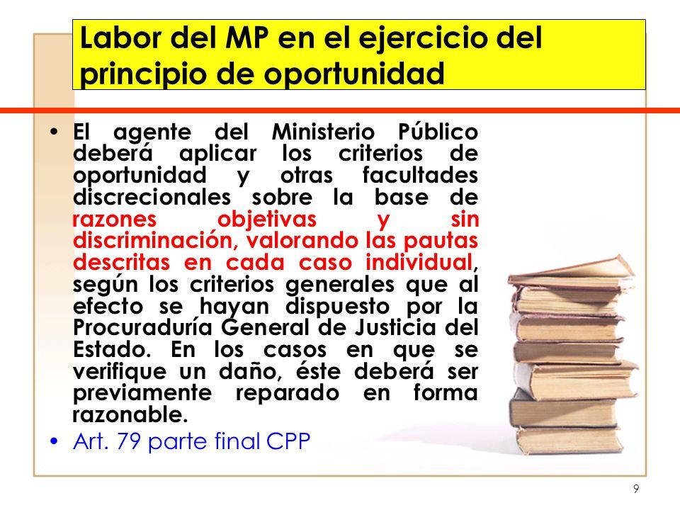 9 Labor del MP en el ejercicio del principio de oportunidad El agente del Ministerio Público deberá aplicar los criterios de oportunidad y otras facul
