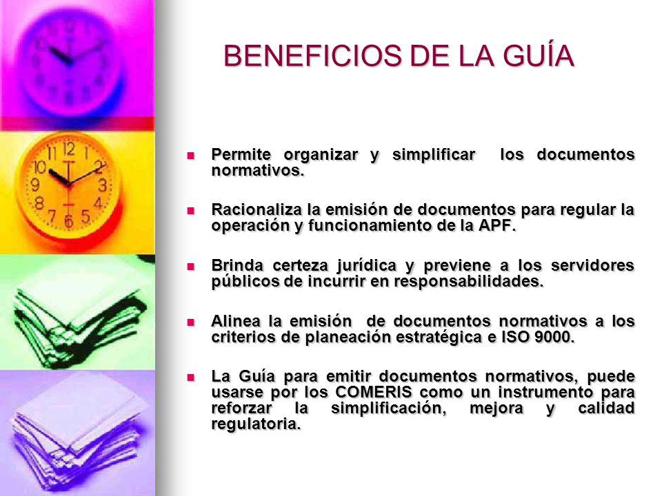 BENEFICIOS DE LA GUÍA Permite organizar y simplificar los documentos normativos. Permite organizar y simplificar los documentos normativos. Racionaliz