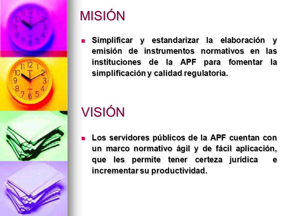 MISIÓN Los servidores públicos de la APF cuentan con un marco normativo ágil y de fácil aplicación, que les permite tener certeza jurídica e incrementar su productividad.
