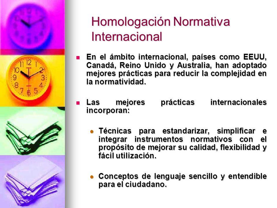Homologación Normativa Internacional En el ámbito internacional, países como EEUU, Canadá, Reino Unido y Australia, han adoptado mejores prácticas para reducir la complejidad en la normatividad.