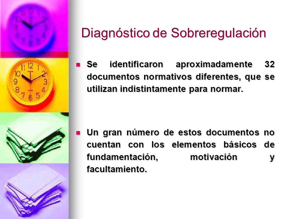 Diagnóstico de Sobreregulación Se identificaron aproximadamente 32 documentos normativos diferentes, que se utilizan indistintamente para normar. Se i