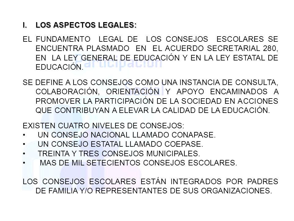 I.LOS ASPECTOS LEGALES: EL FUNDAMENTO LEGAL DE LOS CONSEJOS ESCOLARES SE ENCUENTRA PLASMADO EN EL ACUERDO SECRETARIAL 280, EN LA LEY GENERAL DE EDUCAC