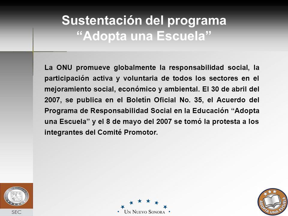 Sustentación del programa Adopta una Escuela La ONU promueve globalmente la responsabilidad social, la participación activa y voluntaria de todos los