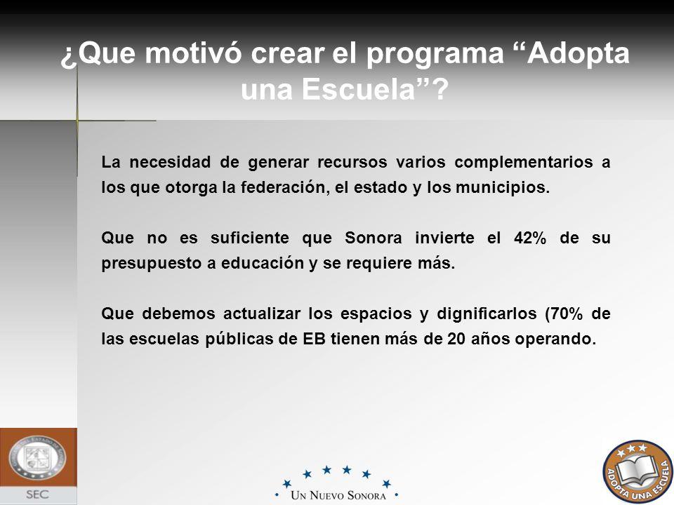 La necesidad de generar recursos varios complementarios a los que otorga la federación, el estado y los municipios. Que no es suficiente que Sonora in