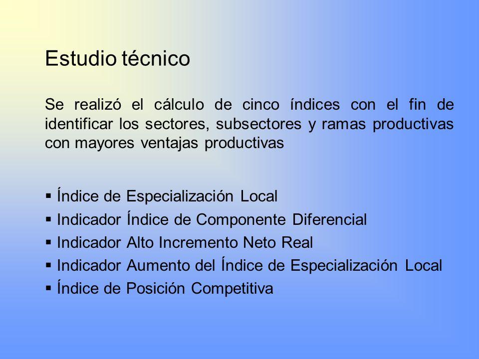 Estudio técnico Se realizó el cálculo de cinco índices con el fin de identificar los sectores, subsectores y ramas productivas con mayores ventajas pr
