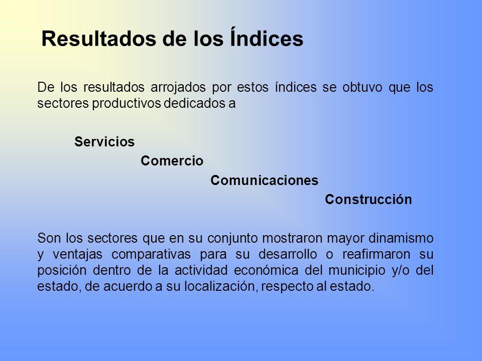 Resultados de los Índices De los resultados arrojados por estos índices se obtuvo que los sectores productivos dedicados a Servicios Comercio Comunica