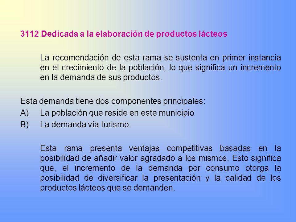 3112 Dedicada a la elaboración de productos lácteos La recomendación de esta rama se sustenta en primer instancia en el crecimiento de la población, l