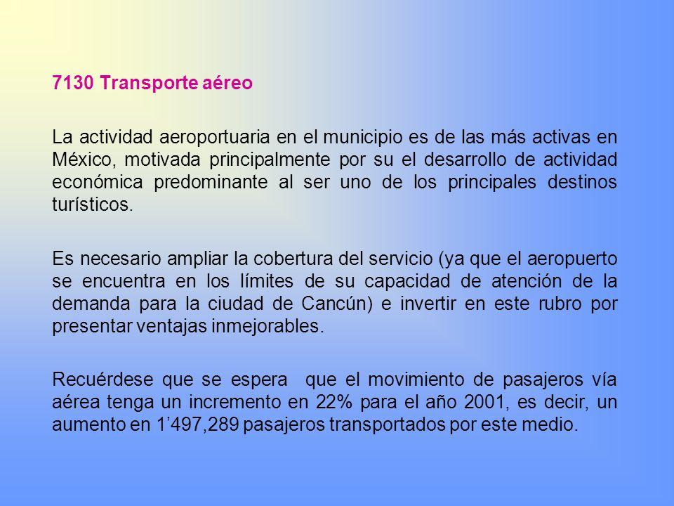 7130 Transporte aéreo La actividad aeroportuaria en el municipio es de las más activas en México, motivada principalmente por su el desarrollo de acti