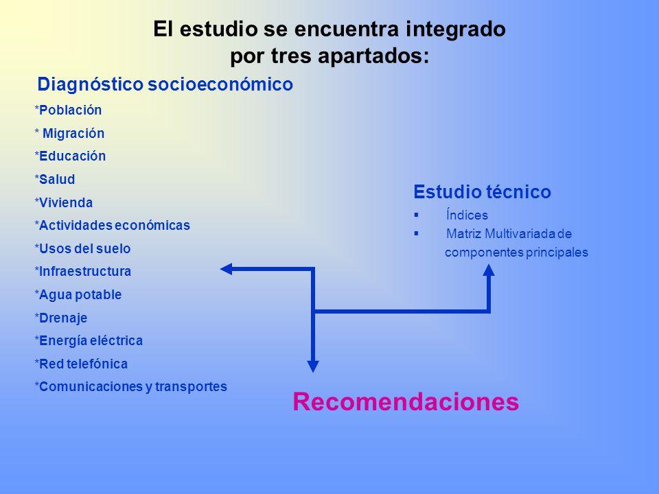 El estudio se encuentra integrado por tres apartados: Estudio técnico Índices Matriz Multivariada de componentes principales Recomendaciones Diagnósti