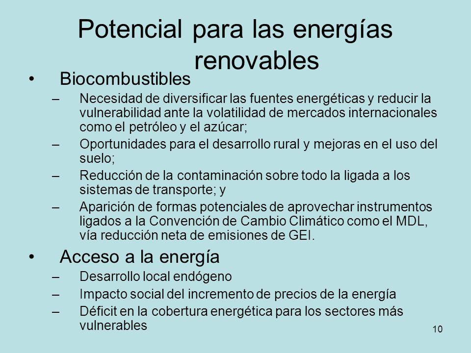 10 Potencial para las energías renovables Biocombustibles –Necesidad de diversificar las fuentes energéticas y reducir la vulnerabilidad ante la volat