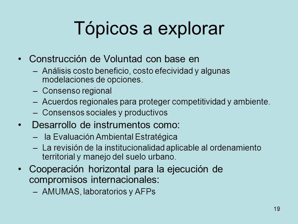 19 Tópicos a explorar Construcción de Voluntad con base en –Análisis costo beneficio, costo efecividad y algunas modelaciones de opciones. –Consenso r