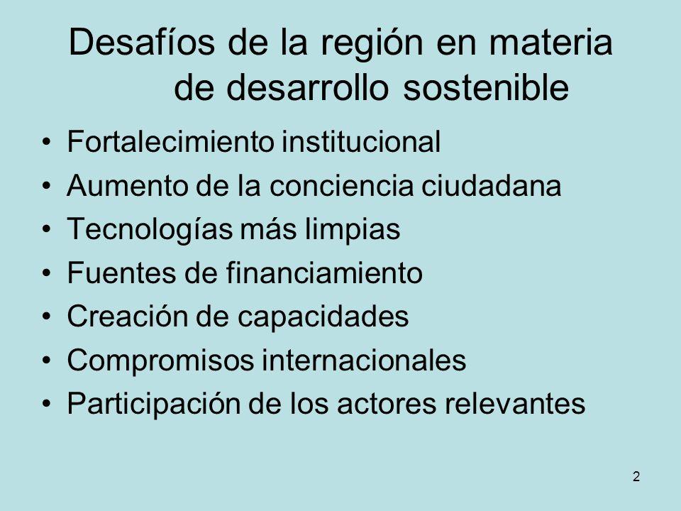 2 Desafíos de la región en materia de desarrollo sostenible Fortalecimiento institucional Aumento de la conciencia ciudadana Tecnologías más limpias F