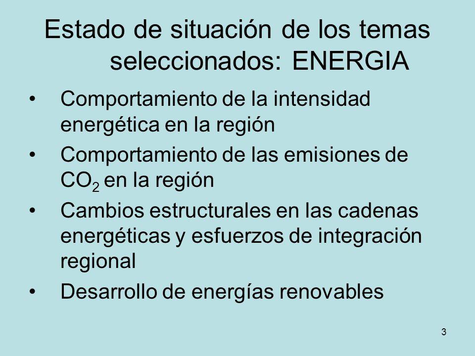 3 Estado de situación de los temas seleccionados: ENERGIA Comportamiento de la intensidad energética en la región Comportamiento de las emisiones de C