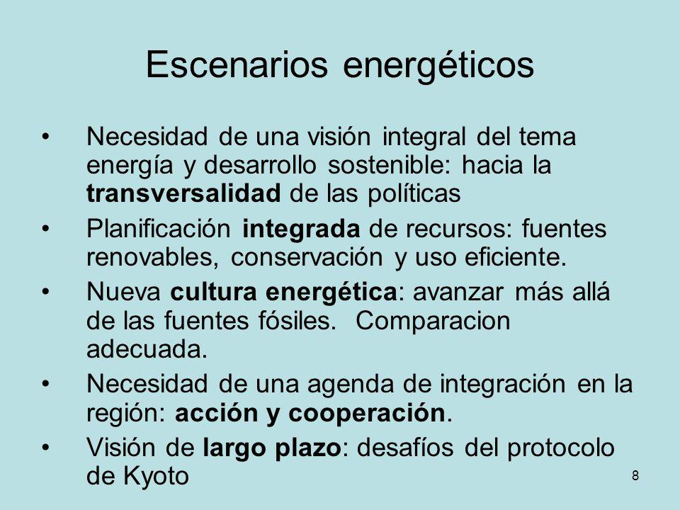 8 Escenarios energéticos Necesidad de una visión integral del tema energía y desarrollo sostenible: hacia la transversalidad de las políticas Planific