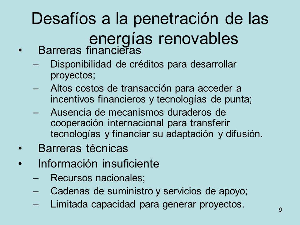 9 Desafíos a la penetración de las energías renovables Barreras financieras –Disponibilidad de créditos para desarrollar proyectos; –Altos costos de t
