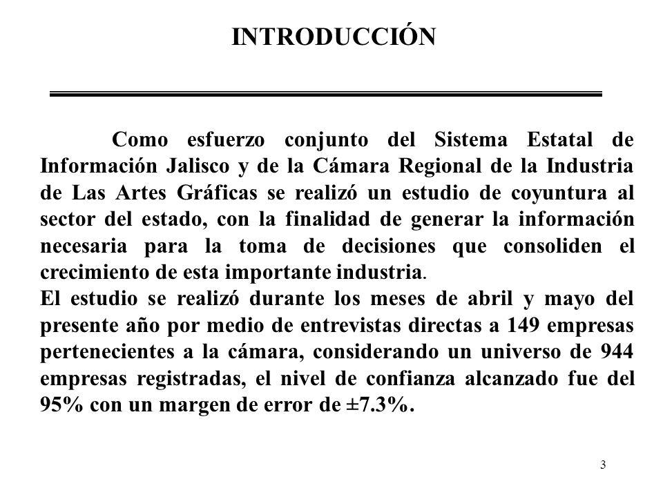 3 INTRODUCCIÓN Como esfuerzo conjunto del Sistema Estatal de Información Jalisco y de la Cámara Regional de la Industria de Las Artes Gráficas se real