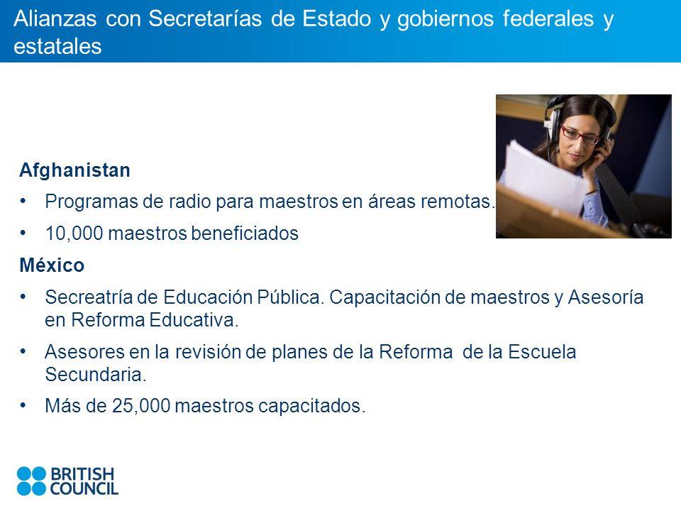 Alianzas con Secretarías de Estado y gobiernos federales y estatales Afghanistan Programas de radio para maestros en áreas remotas.