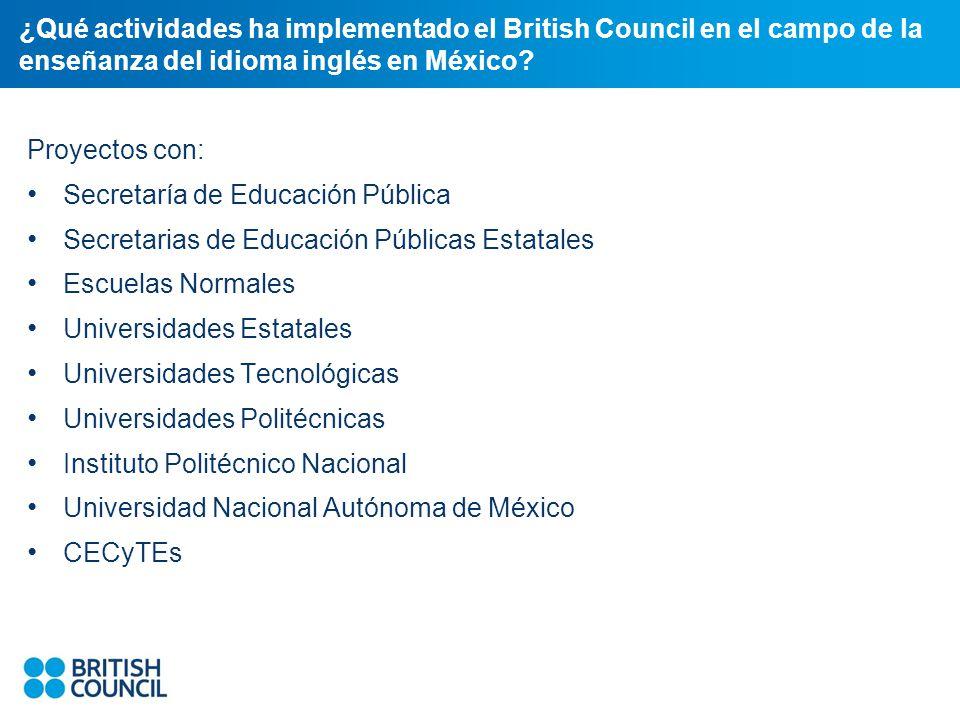 ¿Qué actividades ha implementado el British Council en el campo de la enseñanza del idioma inglés en México.