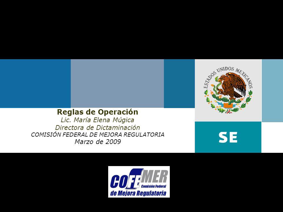 Marzo de 2009Comisión Federal de Mejora Regulatoria Reglas de Operación Lic.