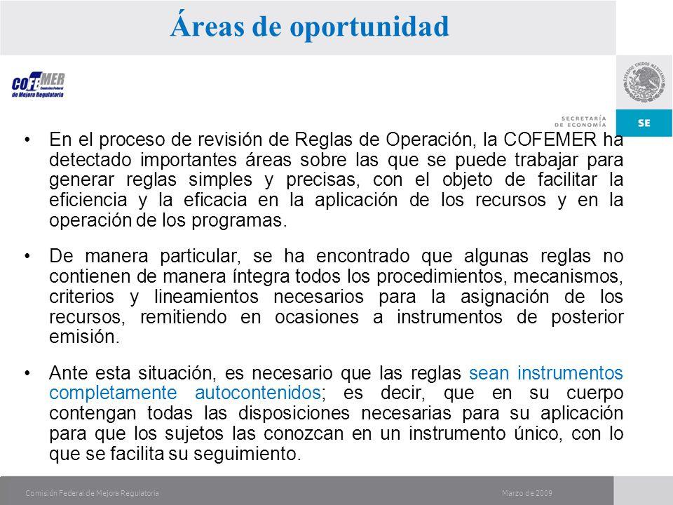 Marzo de 2009Comisión Federal de Mejora Regulatoria En el proceso de revisión de Reglas de Operación, la COFEMER ha detectado importantes áreas sobre las que se puede trabajar para generar reglas simples y precisas, con el objeto de facilitar la eficiencia y la eficacia en la aplicación de los recursos y en la operación de los programas.