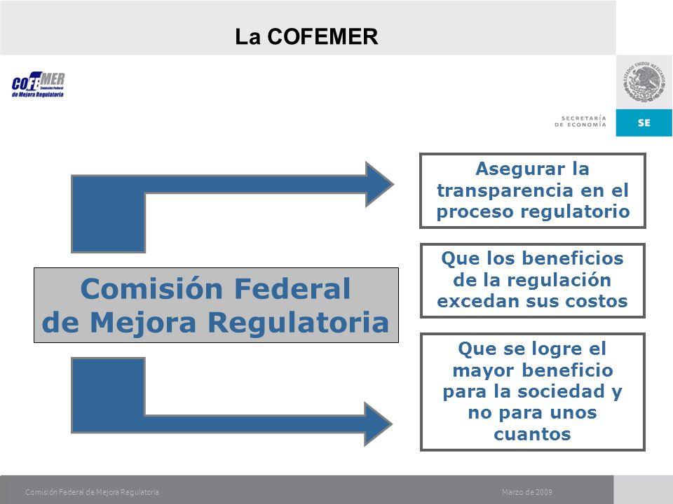Comisión Federal de Mejora Regulatoria Asegurar la transparencia en el proceso regulatorio Que los beneficios de la regulación excedan sus costos Comisión Federal de Mejora Regulatoria Que se logre el mayor beneficio para la sociedad y no para unos cuantos La COFEMER