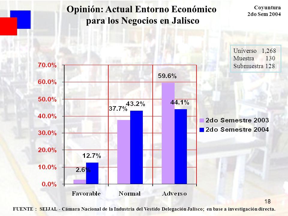 18 Opinión: Actual Entorno Económico para los Negocios en Jalisco Coyuntura 2do Sem 2004 FUENTE : SEIJAL - Cámara Nacional de la Industria del Vestido
