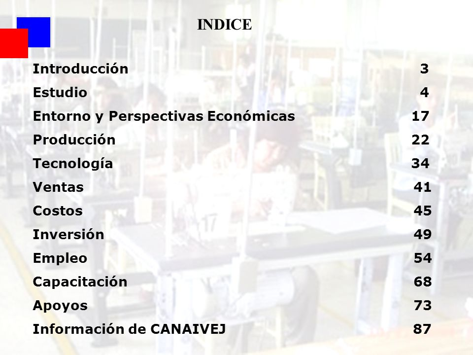 2 INDICE Introducción 3 Estudio 4 Entorno y Perspectivas Económicas 17 Producción22 Tecnología34 Ventas 41 Costos 45 Inversión 49 Empleo 54 Capacitaci
