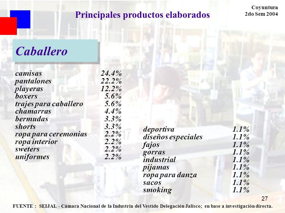 27 FUENTE : SEIJAL - Cámara Nacional de la Industria del Vestido Delegación Jalisco; en base a investigación directa. Coyuntura 2do Sem 2004 Principal