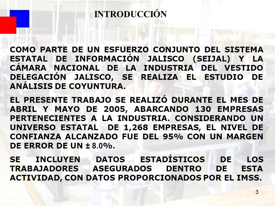 4 El presente estudio tiene como principal objetivo determinar el grado de afectación a las empresas de la industria del vestido en Jalisco, como consecuencia de la coyuntura de algunas variables que pudieron afectar su desarrollo durante el segundo semestre del 2004 con relación al año anterior, así como las perspectivas de este grupo empresarial para el primer semestre del presente año.