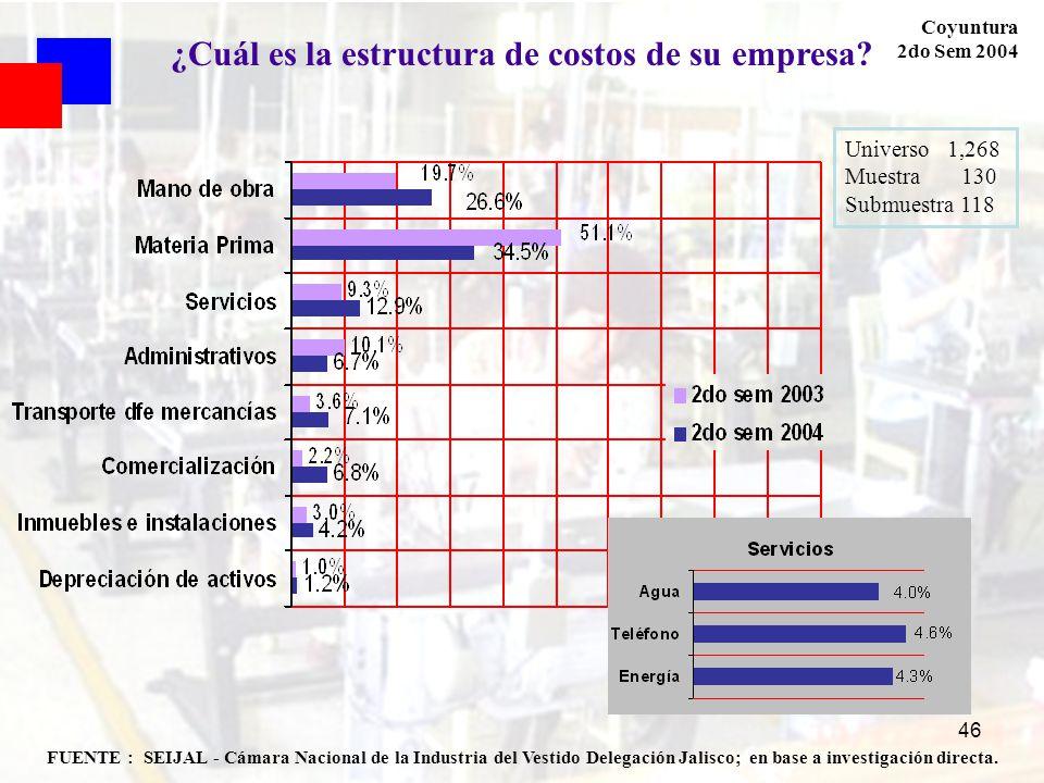 46 FUENTE : SEIJAL - Cámara Nacional de la Industria del Vestido Delegación Jalisco; en base a investigación directa. Coyuntura 2do Sem 2004 ¿Cuál es
