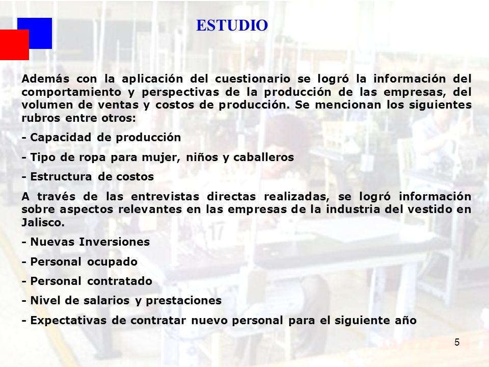 36 FUENTE : SEIJAL - Cámara Nacional de la Industria del Vestido Delegación Jalisco; en base a investigación directa.