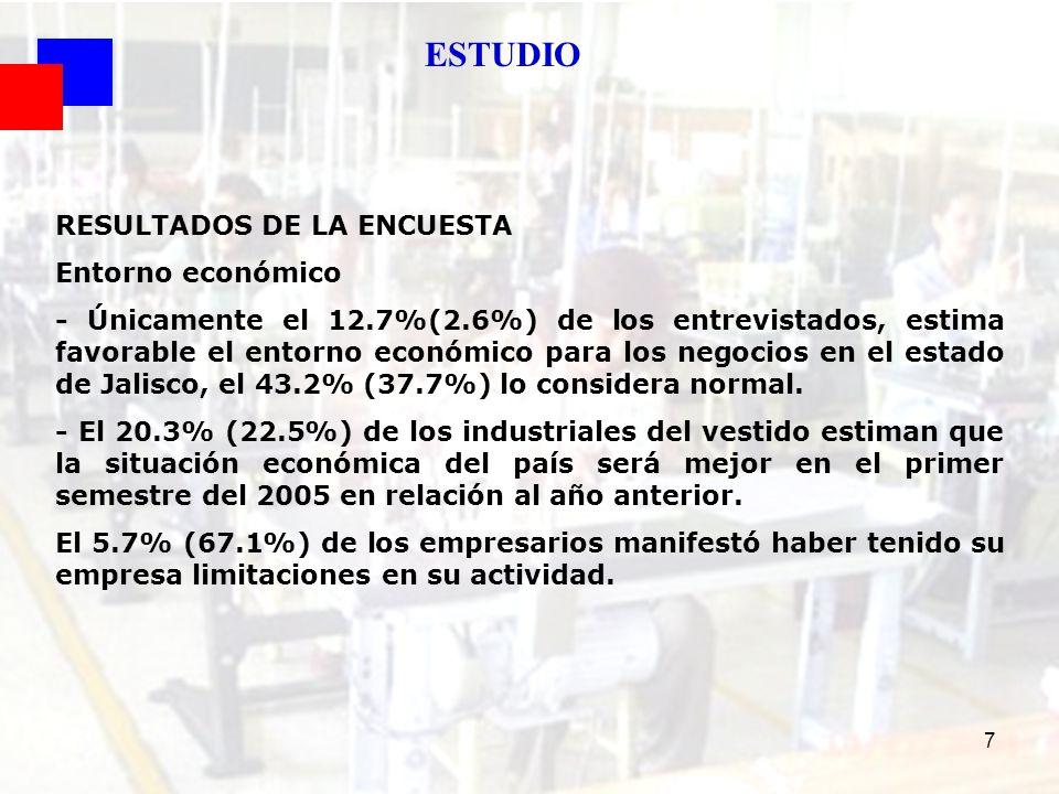 18 Opinión: Actual Entorno Económico para los Negocios en Jalisco Coyuntura 2do Sem 2004 FUENTE : SEIJAL - Cámara Nacional de la Industria del Vestido Delegación Jalisco; en base a investigación directa.