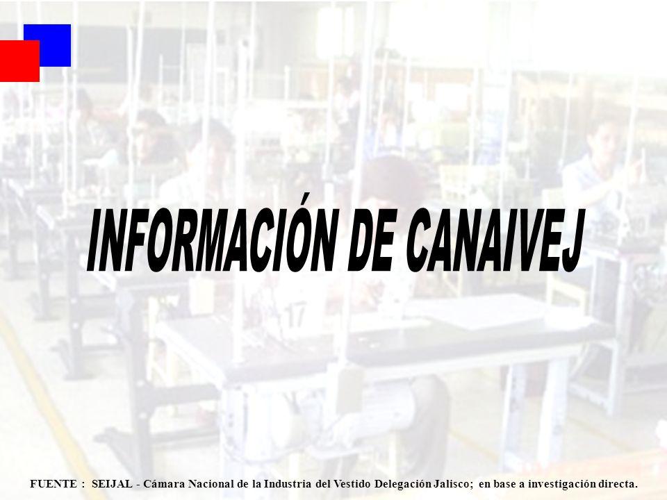 87 FUENTE : SEIJAL - Cámara Nacional de la Industria del Vestido Delegación Jalisco; en base a investigación directa.
