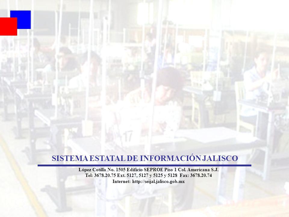 91 SISTEMA ESTATAL DE INFORMACIÓN JALISCO López Cotilla No. 1505 Edificio SEPROE Piso 1 Col. Americana S.J. Tel: 3678.20.75 Ext. 5127, 5127 y 5125 y 5
