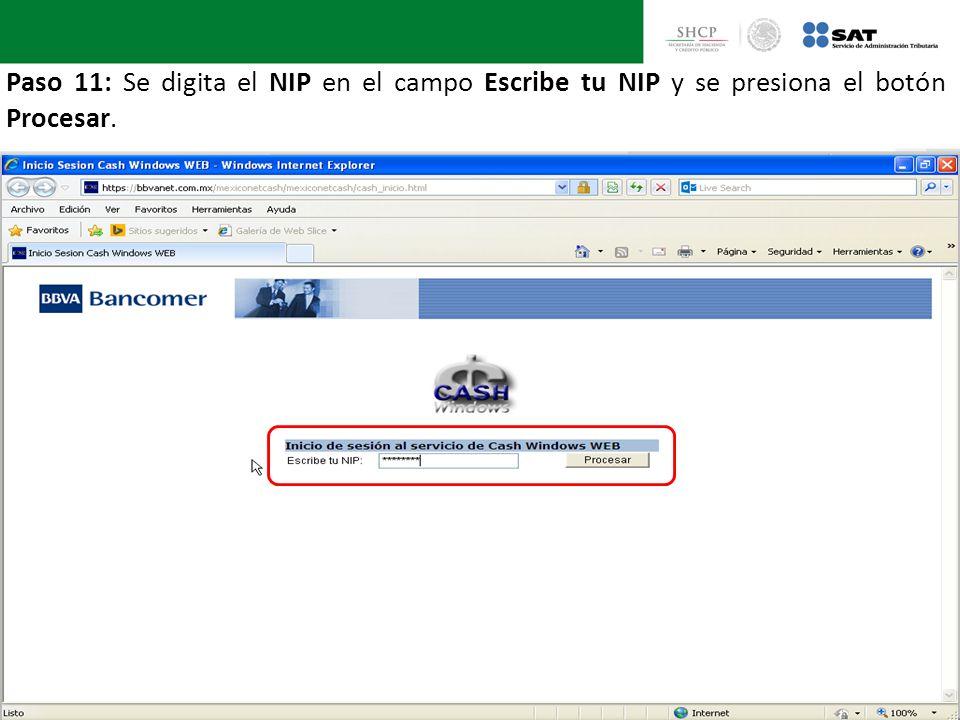 Paso 11: Se digita el NIP en el campo Escribe tu NIP y se presiona el botón Procesar.