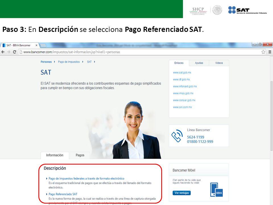 Paso 3: En Descripción se selecciona Pago Referenciado SAT.