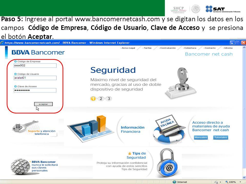 Paso 5: Ingrese al portal www.bancomernetcash.com y se digitan los datos en los campos Código de Empresa, Código de Usuario, Clave de Acceso y se pres