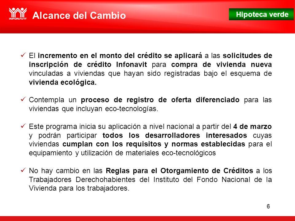 Hipoteca verde 6 El incremento en el monto del crédito se aplicará a las solicitudes de inscripción de crédito Infonavit para compra de vivienda nueva vinculadas a viviendas que hayan sido registradas bajo el esquema de vivienda ecológica.