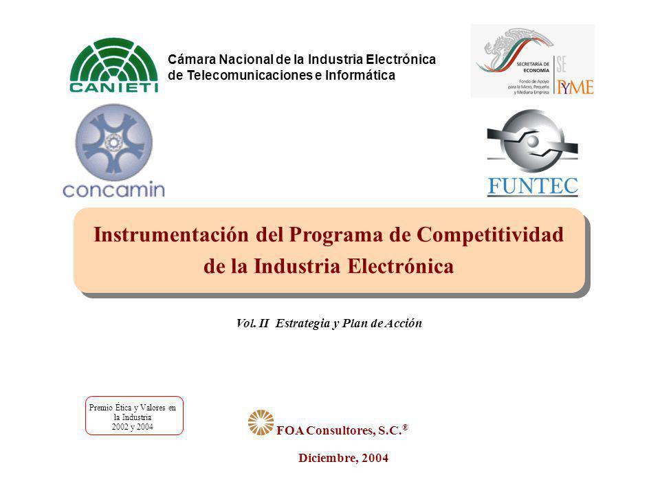 FOA Consultores La designación de los consultores que realizaron el presente Estudio para la Instrumentación del Programa para la Competitividad de la Industria Electrónica y de Alta Tecnología, fue mediante concurso por invitación; su costo fue cubierto en un 20% por la CANIETI, 44% por FUNTEC A.