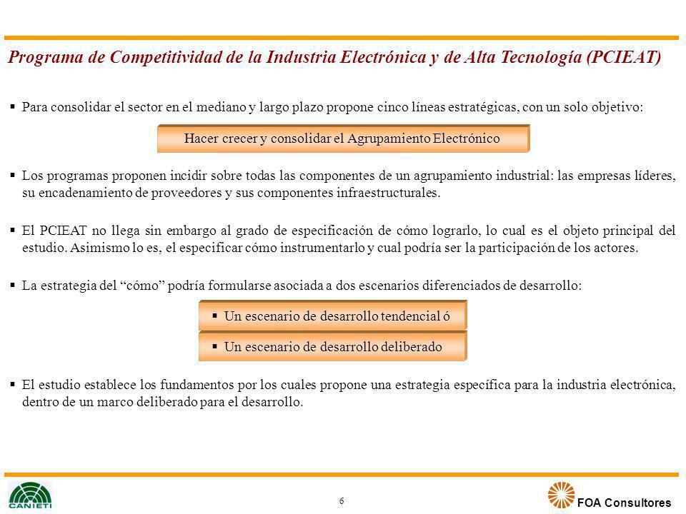 FOA Consultores Programa de Competitividad de la Industria Electrónica y de Alta Tecnología (PCIEAT) Para consolidar el sector en el mediano y largo p