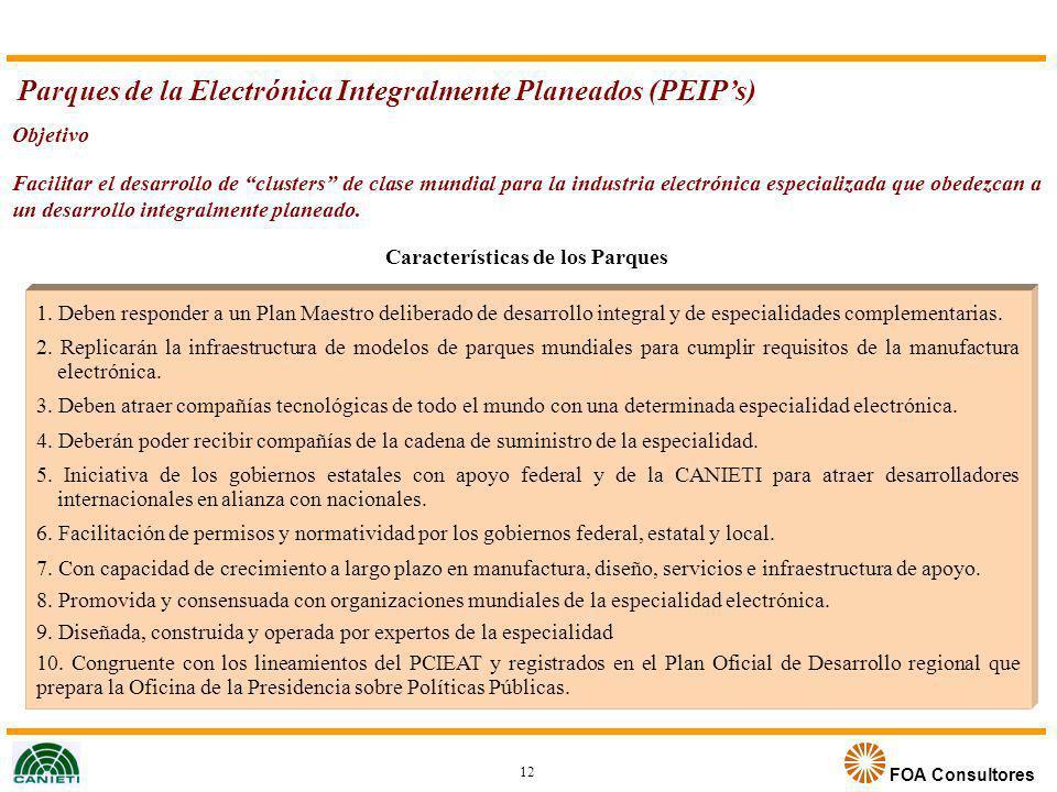 FOA Consultores Parques de la Electrónica Integralmente Planeados (PEIPs) Objetivo Facilitar el desarrollo de clusters de clase mundial para la indust