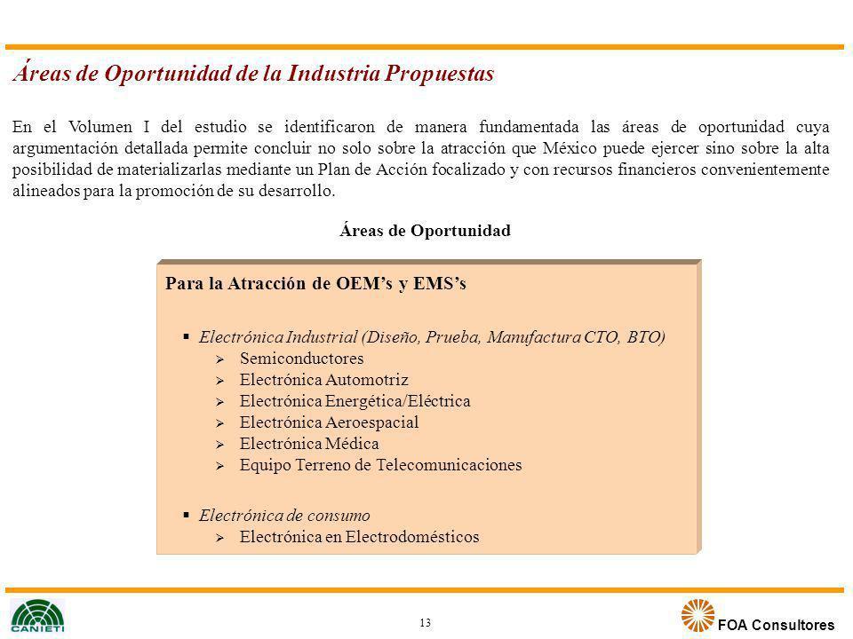FOA Consultores En el Volumen I del estudio se identificaron de manera fundamentada las áreas de oportunidad cuya argumentación detallada permite conc