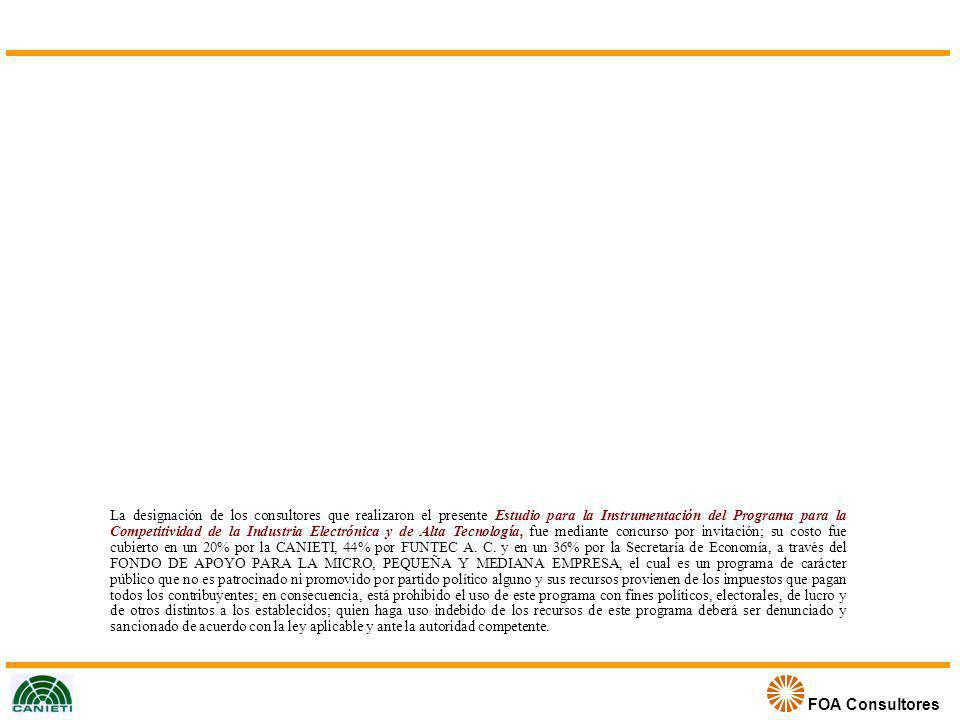 FOA Consultores Condicionantes para las Plantas a Ubicarse en los PEIPs Ubicación mediante selección basada en plan de negocios Cumplimiento de reglamentación especifica de la especialización del parque Cumplimiento de normas de calidad (ISO 9000-2000) Cumplimiento de normas de ISO ambientales (ISO 14000) Cumplimiento de normas de responsabilidad social e integridad Cuartos limpios (en caso de parques de semiconductores y nanoelectrónica) Certificado de evaluación de calidad de proveedores (SSGA) 18