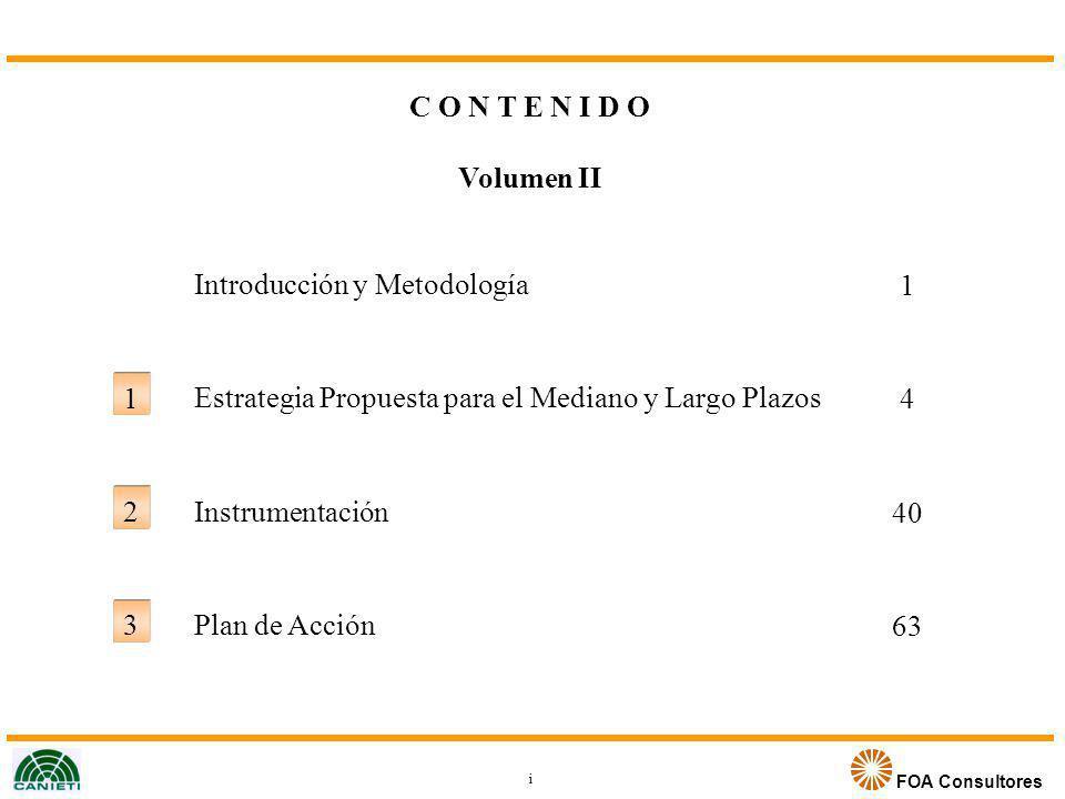 FOA Consultores C O N T E N I D O Volumen II Introducción y Metodología Estrategia Propuesta para el Mediano y Largo Plazos Instrumentación Plan de Ac